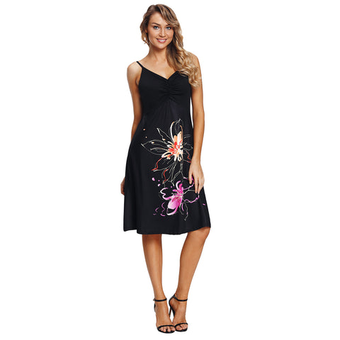 Women Summer Sexy V-neck Print Evening Cocktail Party Ball Gown Midi Dress - BuyShipSave