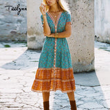 TEELYNN long boho dress 2018 autumn rayon Floral print dresses short sleeve sexy v-neck dress Hippie Bohemia women dress Vestido - BuyShipSave