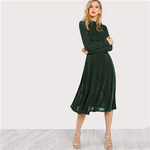 SHEIN Green Elegant Party Mock Neck Glitter Button Fit And Flare Solid Natural Waist Dress 2018 Autumn Minimalist Women Dresses