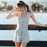 USA SIZE European and American style vertical stripes sleeveless hanging neck beach holiday ones shorts - BuyShipSave