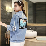 Large size women's denim jacket was thin top