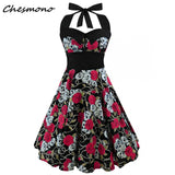 Plus Size Women Floral Skull Print Off Shoulder Sexy Halter Dress Retro Vintage Hepburn Style 2018 New Pin Up Rockabilly Vestido - BuyShipSave