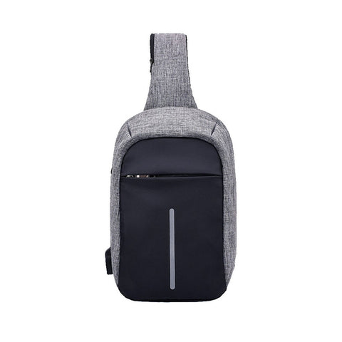 Sling Bag with USB Charging Port and Headphone Hole Chest Casual Daypack Travel Shoulder Backpack Sling Bags for Women Men Outdoor Sports (Light Gray) - BuyShipSave