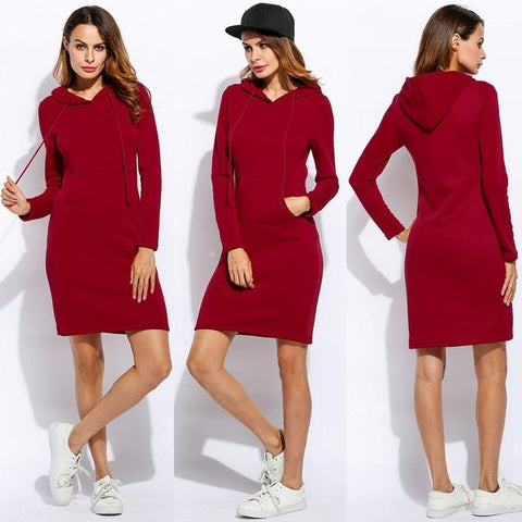 Vestidos Women Fleeces Fashion Hooded Full Drawstring Dress Sweatshirt Size Dress 2018 Dresses Plus Hoodies Sleeves Winter Women - BuyShipSave