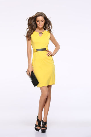 USA SIZE Metal buckle small V-neck bottoming skirt Slim temperament pencil skirt large size dress - BuyShipSave
