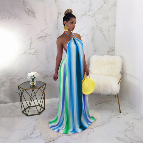 Sexy Women Sleeveless Long Dress Halter Backless Gradient Color Party Evening Maxi Dress Clubwear - BuyShipSave