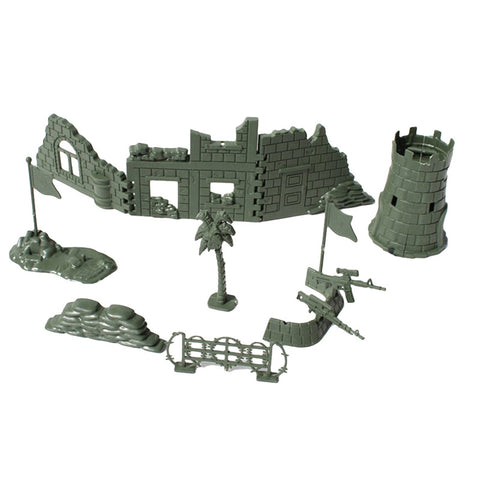 Military Fence Model Toys Set DIY Assembly Sandbag Perimeter Fence Ruins Sand Table Model (Army Green) - BuyShipSave