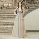 Real Photo Ball gown Spaghetti Strap Illusion Hand Work Beaded Train Long Prom Evening dress Deep V New OL103012 - BuyShipSave