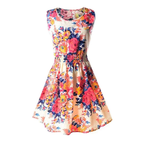 Women Sleeveless Floral Dress Casual Skinny Skirt Summer Wear Size S (Pink Flower) - BuyShipSave