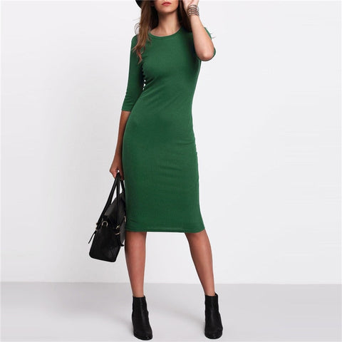 COLROVIE Work Summer Style Women Bodycon Dresses Sexy Casual Green Crew Neck Half Sleeve Midi Dress - BuyShipSave