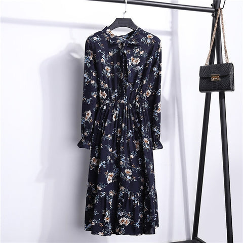 2018 Spring Autumn Women's Chiffon Dresses Stand Neck With Bow Floral Print Ruffles Vestido Long Sleeve Elegant Cute Dress S-XL - BuyShipSave