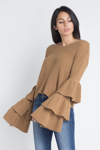 Women's Layered Bell Sleeve Sweater - BuyShipSave