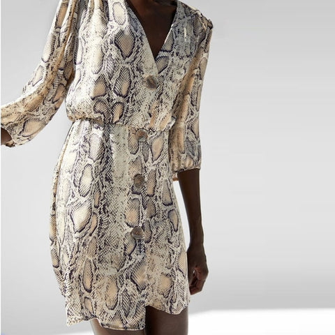 New High Street  Women A-line Dresses Snakeskin Printed Half Sleeve Button Dress - BuyShipSave