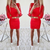 Hirigin Newest Dress Sexy Fashion Women Off Shoulder With Lace Long Sleeve Bodycon Party Evening Mini Pencil Dress Clubwear - BuyShipSave