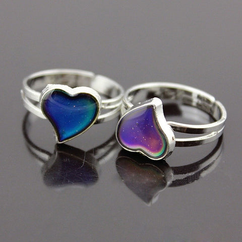 Temperature Color Changing Silver Plated Heart Shaped Mood Ring Adjustable Ring Band - BuyShipSave