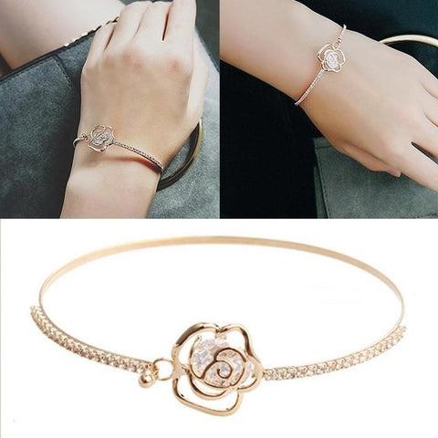 1Pcs Elegant Womens Crystal Rose Flower Bangle Cuff Bracelet Gold Jewelry - BuyShipSave