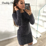 Fashion Winter Plush sweater Dress Women Party night Bodycon Christmas Black clothing Sexy Mini bandage knitted Dress For Female - BuyShipSave