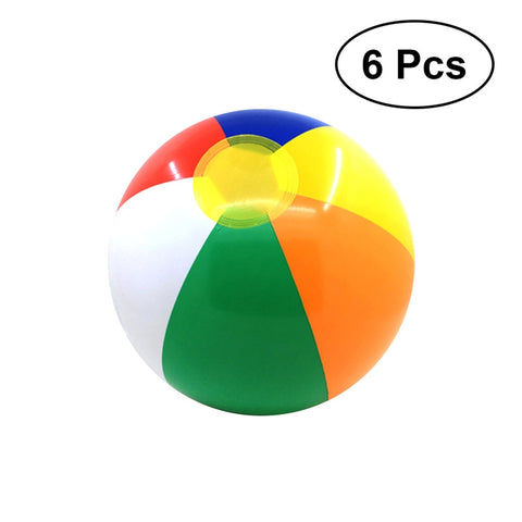 6 Pcs Colorful Inflatable Ball Beach Ball Water Ball Pool Toys for Kids Children