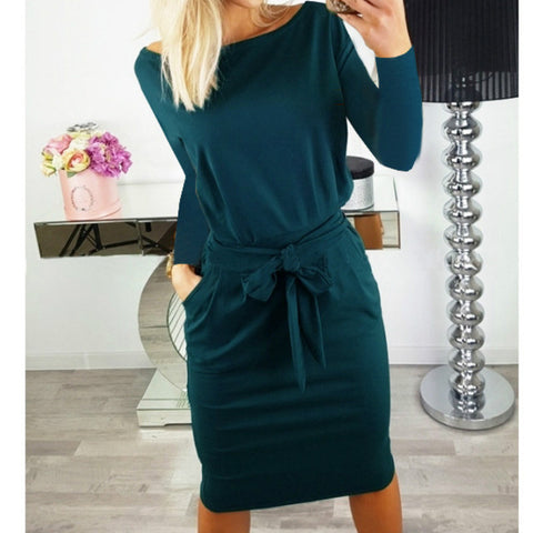 2018 Autumn Fashion Batwing Sleeve Bodycon Dress Pocket Sashes Pencil Dress Women Long Sleeve O-Neck Casual Loose Dress - BuyShipSave