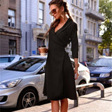 2018 Autumn Women Vintage V-neck Dress Fashion Solid Color Sashes Three Quarter Sleeve A-line Office Dress Sexy Party Dresses - BuyShipSave
