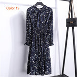 Chiffon High Elastic Waist Party Dress Bow A-line Women Full Sleeve Flower Print Floral Bohemian Dress Female Vestido Plus Size - BuyShipSave