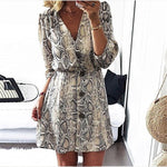 New Arrival 2018 Women Fall High Street Style A-line Casual Dress Autumn Snakeskin Printed Half Sleeve Button Party Dresses - BuyShipSave