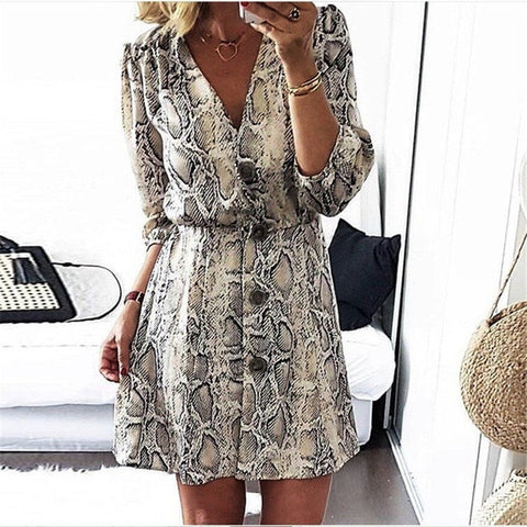 New Arrival 2018 Women Fall High Street Style A-line Casual Dress Autumn Snakeskin Printed Half Sleeve Button Party Dresses