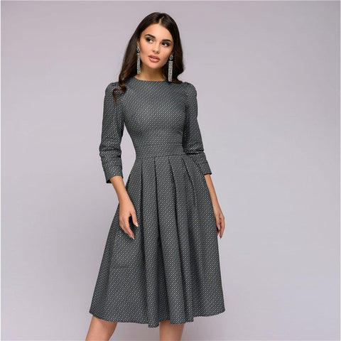 Womens Dresses New Arrival 2018 Fall Casual Printing Party Dress Ladies Autumn Summer Vintage Christmas Dresses Plus Size - BuyShipSave
