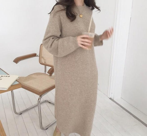 Women Autumn Winter Long Sleeve Long Sweater Dress Female Pullover Straight Knitted Solid Korean Clothes Plus Size Robe Femme - BuyShipSave