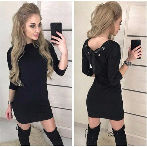 Fall 2018 Women Casual Three Quarter Sleeve Dress Vintage Christmas Party Dresses Autumn Sexy Black Red Backless Mini Dress - BuyShipSave