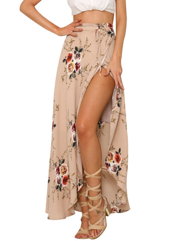 Women Flower Printed Asymmetric Split Tie-wrap Long Skirt