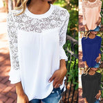 Summer Women Blouse Elegant Lace Shirt O Neck Long Sleeve Patchwork Solid Beach Party Chiffon Shirt Loose Blusas