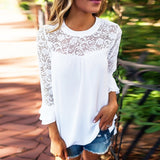 Summer Women Blouse Elegant Lace Shirt O Neck Long Sleeve Patchwork Solid Beach Party Chiffon Shirt Loose Blusas - BuyShipSave