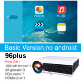 Poner Saund LED96+ Projector 3D Home Theater Optional Android 6.0 WIFI 100inch screen GIFT Full HD 1080P HDMI Video Proyector - BuyShipSave