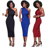 New Sexy Women Bodycon Midi Dress One Shoulder High Waist Sleeveless Party Clubwear Dress