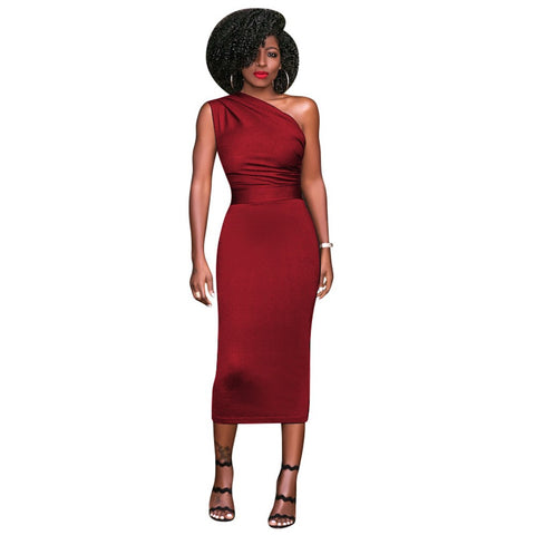 New Sexy Women Bodycon Midi Dress One Shoulder High Waist Sleeveless Party Clubwear Dress - BuyShipSave