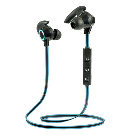 Wireless Bluetooth 4.2 + EDR Headphones Outdoor Sport Headsets In-ear Stereo Music Earphone Built-in Microphone Line Control Rechargeable Blue