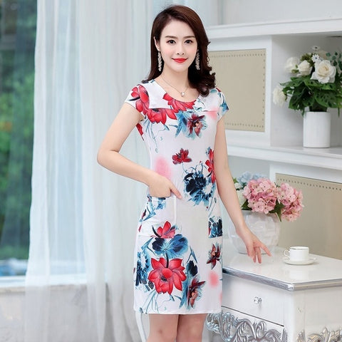 HANQIYAHULI 5XL 2018 Women style dress Slim Tunic Milk Silk print Floral Casual Plus Size vestido feminino loose dresses clothes - BuyShipSave