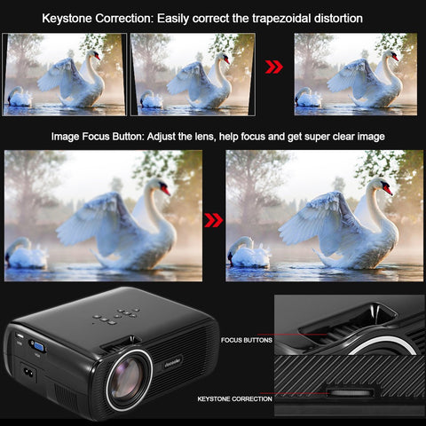 "Docooler BL-80 LED LCD Projector 1080P 130"" Home Theater Video Projector 1200 Lumens 800 * 480 Pixel 1000:1 Contrast Ratio with HD IN VGA AV USB Remote Controller US Plug - BuyShipSave"