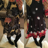 Winter Casual New Year Christmas Mini Dress Women Long Sleeve Floral Plus Size Dress Clothes Femme O-neck Ladies Dresses - BuyShipSave