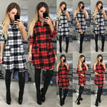 Women Ladies Long Sleeve Cotton Tops Casual Loose Check Shirt Mini Dress Blouse Plaid Button Down Pocket Jumper Dress - BuyShipSave