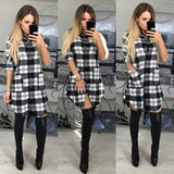 Women Ladies Long Sleeve Cotton Tops Casual Loose Check Shirt Mini Dress Blouse Plaid Button Down Pocket Jumper Dress