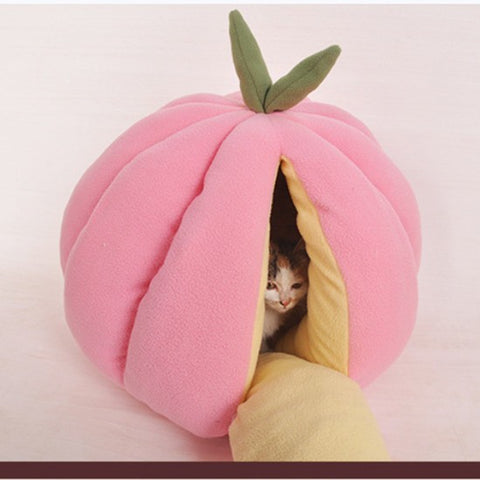 Pumpkin Shape Cat Puppy House Cute Cotton Pet Fruit Cave Pet Dog Cat Bed Sleepling Nest Warm Winter - BuyShipSave