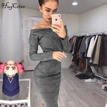 Hugcitar Suede Long Sleeve off shoulder Women mid-calf Dress 2018 Autumn Winter Female sexy Bodycon new year party Dresses - BuyShipSave