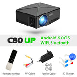 AUN MINI Projector C80 UP, 1280x720 Resolution, Android WIFI Proyector, LED Portable HD Beamer for Home Cinema, Optional C80 - BuyShipSave
