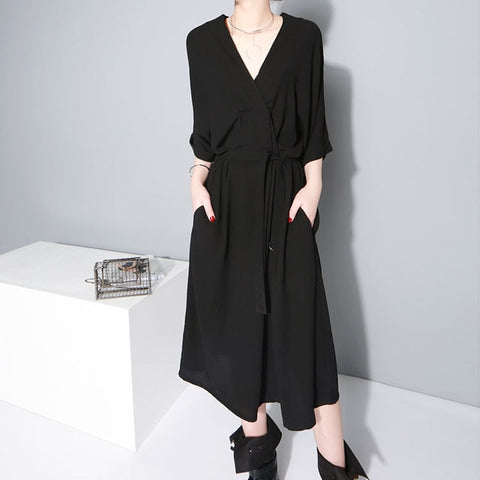 [EAM] 2019 New Spring  winter V-collar Half Sleeve Bandgae Loose Temperament Loose Big Size Chiffon Dress Women Fashion  JF733