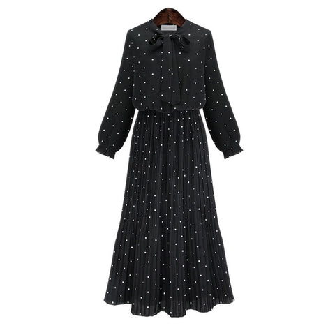 [EAM] 2019 New Spring  Round Neck Long Sleeve Solid Black Chiffon Dot Loose Big Size Dress Women Fashion Tide JA23601M