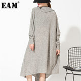 [EAM] 2019 New Spring  Gray Asymmetrical Collar Irregular Hem Loose Long Big Size Kitting Dress Women Fashion Tide AS1711 - BuyShipSave