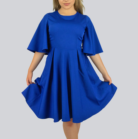 Pleated Midi Dress with Flare Sleeves by Smart Marché - BuyShipSave