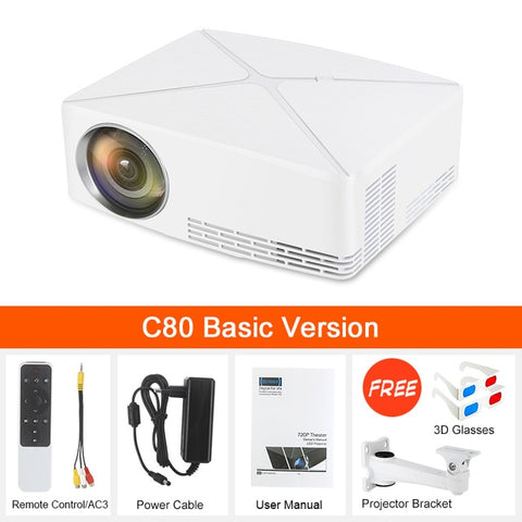 Newpal C80 UP Mini Projector 2200Lumens Projector 1280x720P Home Cinema (Android WIFI Option) 720P HD Beamer LED Proyector c80 - BuyShipSave
